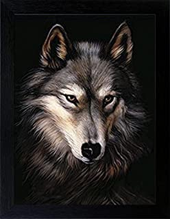 WOODEN SHOP 3D Lenticular Picture Poster Artwork Unique Wall Decor Holographic Pictures Optical Illusion Flipping Images with Frame, Wolf Head