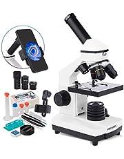 USCAMEL Mikroskop 40X-2000X sammansatt monokulära mikroskop för barnstudenter, dubbel LED-belysning labbbiologiskt mikroskop med glidskydd set för skollaboratorium hem