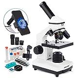 USCAMEL Microscope 40X-2000X - Microscopios monoculares compuestos para niños y estudiantes, doble iluminación LED de laboratorio biológico con diapositivas Set para el laboratorio escolar y el hogar