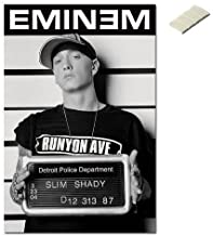 Bundle - 2 Items - Eminem Slim Shady Mugshot Poster - 91.5 x 61cms (36 x 24 Inches) and Small Block of White Tack