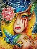HxfhxfDIY pintura al óleo pintura por números kit para adultos 16x20 pulgadas para principiantes niños mujer con hermoso maquillaje