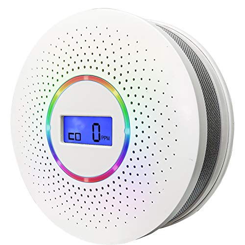Combination Smoke & Carbon Monoxide Alarm Detector,Dual Sensor CO Smoke Alarm Detector Battery Powered with LCD Display and Sound Warning for Home,Office,School(Batteries NOT Included)
