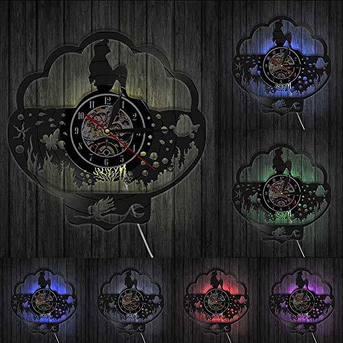 Fantasía sirena océano decoración subacuática reloj de pared princesa Ariel vinilo disco reloj de pared regalo para ella hadas Seamaid reloj luces LED