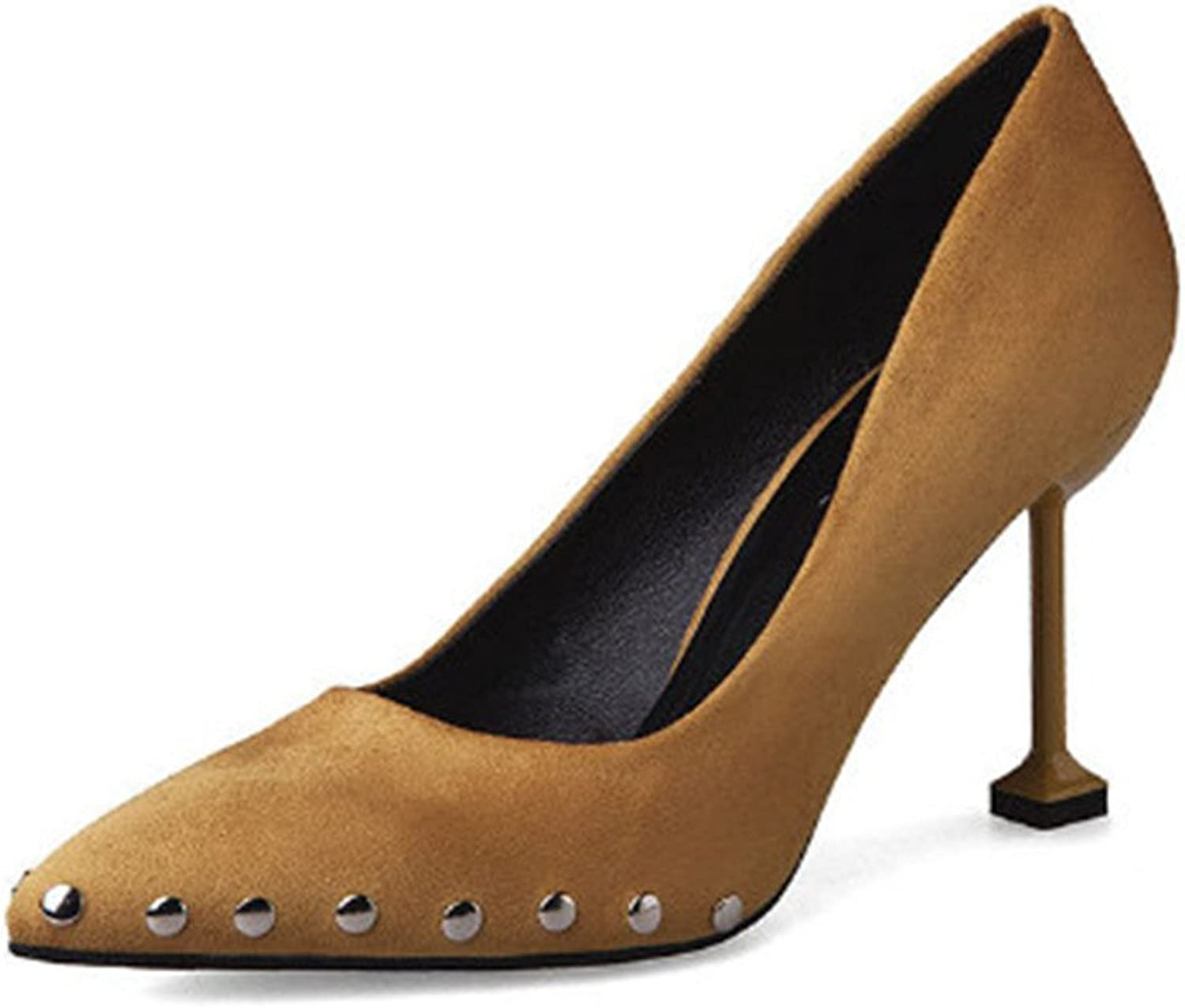 Coloing Women's Chunky Heel Closed Pointed Toe r Dress Pumps shoes