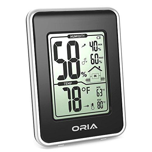 Oria Hygrometer/Thermometer für den Innenbereich, Schwarz , 7.6cm*4cm*10.6cm