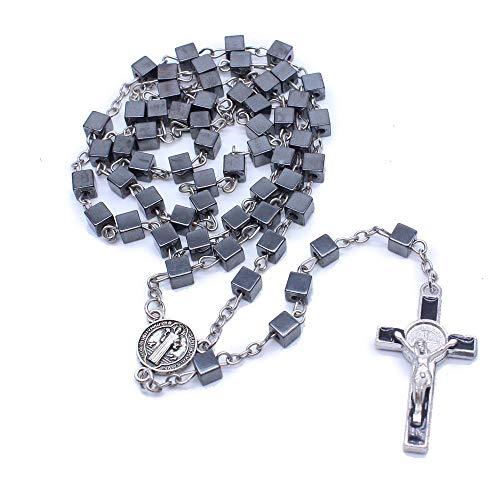 TENGXINGKEJI Quadratische Halskette mit Hämatit-Rosenkranz und schwarzen Steinperlen mit Jerusalemer Heiligem Boden und Kreuz