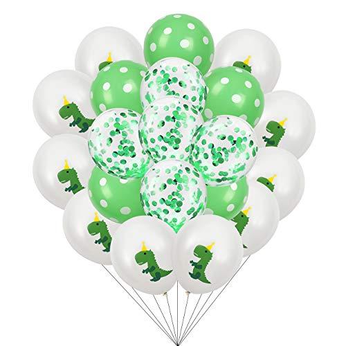 FT-SHOP Dinosaurier Ballone 20 Stück Latex Luftballon Konfetti Ballon Set für Kindergeburtstag Partyzubehör Dekoration