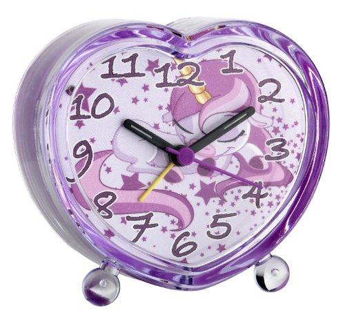TFA Dostmann Einhorn Analoger Kinder-Wecker, 60.1015.12, fröhliches Kindermotiv, große ablesbare Ziffer, leises Uhrwerk, rosa