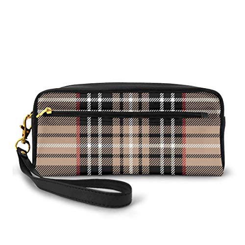 Pencil Case Pen Bag Pouch Stationary,Classical Tartan in British Style Design Geometric Ornament Striped,Small Makeup Bag Coin Purse