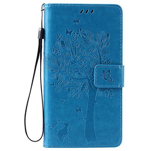Lomogo Huawei Honor 5X Hülle Leder, Schutzhülle Musterprägung Brieftasche mit Kartenfach Klappbar Magnetverschluss Stoßfest Kratzfest Handyhülle Case für Huawei Honor 5X - EKATU23493 Blau