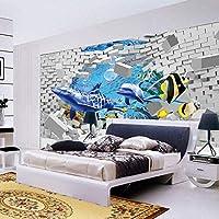 RTYUIHN 写真の壁紙3Dクリエイティブアートリビングルームリビングルームの装飾壁クジライルカ壊れた壁大きな壁紙モダンな壁アートの装飾