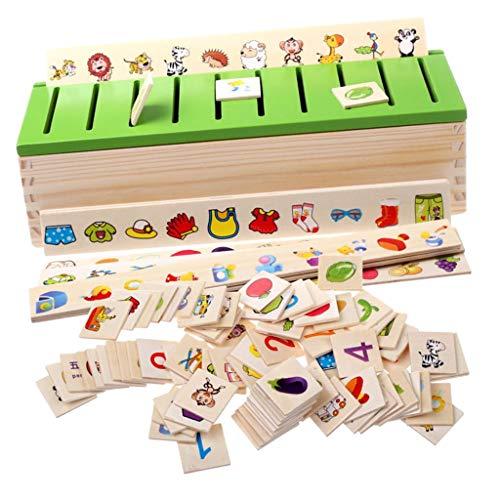 F Fityle Montessori Holz Steckspiel Sortierspiel Kinderspiele Kinder Spiele Spielzeug (Chinesisch und Englisch)