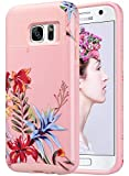 ULAK S7 Case, Galaxy S7 Case, Hybrid Case for Samsung Galaxy S7 2016 Release 2-Piece Dual Layer Style Hard Cover (Pink+Tropical Flower) Will not Fit S7 Edge