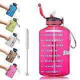 SLUXKE Botella de deporte de 2,2 l/3,78 l, botella de agua grande, botella de deporte, sin BPA, botella de agua de 2,2 litros, antigoteo, botella de agua para gimnasio, gimnasio
