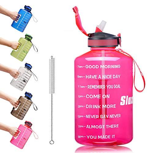 SLUXKE Bottiglia d Acqua da 3,78/2.2 Litri con Indicatore del Tempo di Motivazione, Prova di Perdite, Bottiglia d'Acqua Grande senza BPA con Cannuccia per Palestra, Casa, Ufficio, Attività All'aperto