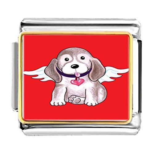 GiftJewelryShop Gold Plated cute poodle dog angel Bracelet Link Photo Italian Charm