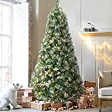 HOMAKER Pre-Lit 7.5ft Pine Christmas Tree, Snow Flocked 700 UL Certificated Clear Lights, Artificial Xmas Tree