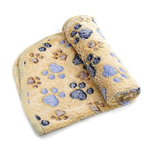 Treely Coral Fleece Paw Print Blanket Soft Warm Dog Blanket for Cat Puppy Sleep Mat Pad Bed Cover(Large Size 35.4