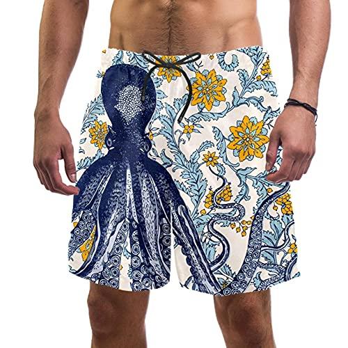 Octopus - Bañador para hombre, secado rápido, con forro de malla y bolsillos, Pulpo 1, S