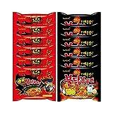 Samyang Fire Noodle Set - Hot Chicken Ramen   6x140g Extreme DOPPEL ( Rot) , 6x140g Original (Schwarz)   Vorteilspack 12 Portionen   inkl. 6 Paar Stäbchen