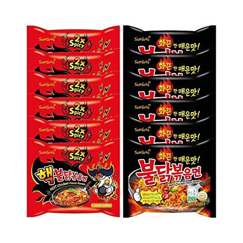 Samyang Fire Noodle Set - Hot Chicken Ramen | 6x140g Extreme DOPPEL ( Rot) , 6x140g Original (Schwarz) | Vorteilspack 12 Portionen | inkl. 6 Paar Stäbchen |