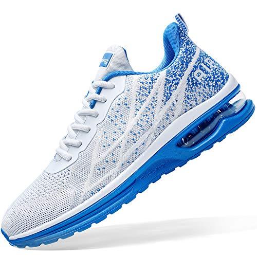 Zapatillas de tenis deportivas para hombre para correr y correr de deporte ligero para gimnasio, correr a pie US 6.5-US12, Multicolor (Blanco/Azul), 41 EU
