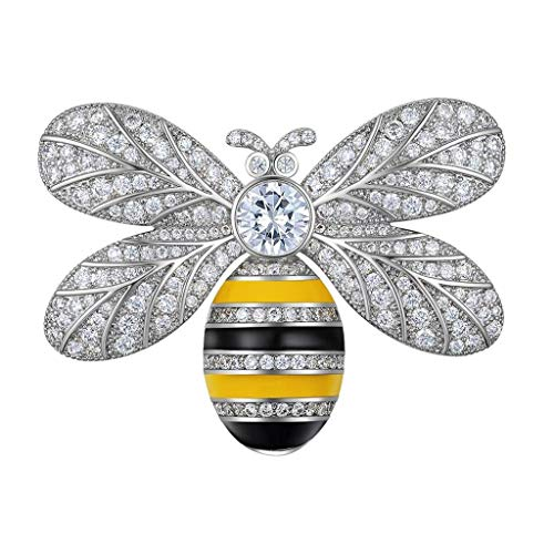 ZWSHOP Little Bee Brooch Female, Alloy Material, High-Grade Brooch Coat Needle Cardigan Accessories, Gold and Silver, Birthday Gift 4.5 × 3 cm (Color : Silver)