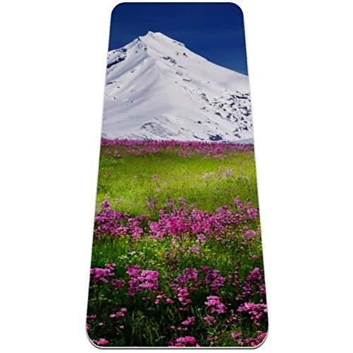 Haminaya Pilates Matte Garten Schnee Berg Gymnastikmatte Premium Bedruckte Fitnessmatte Umweltschutz TPE Yogamatte rutschfest Sportmatte mit Tragetasche 183x61x0.6cm