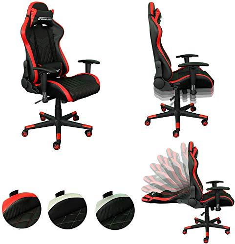 Rapid Teck® Bürostuhl Gaming Schwarz/Rot JetSeat Chefsessel Schreibtischstuhl Drehstuhl Race Chair Sportsitz Racing Stuhl PU mit verstellbaren Armlehnen und Wippfunktion, Kunstleder gesteppt