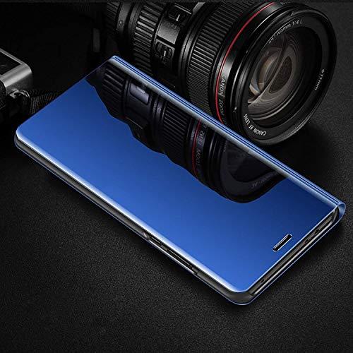 MRSTER Honor Play Hülle Clear View Standing Cover, Spiegel Handyhülle Schutzhülle Flip Case Schutz Tasche mit Standfunktion 360 Grad hülle für das Huawei Honor Play. Flip Mirror: Blue - 2