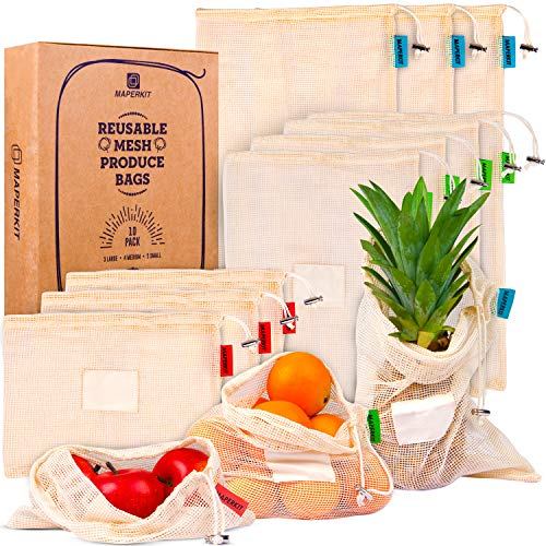 Maperkit Reusable Mesh Produce Bags Grocery Reusable 10 Pack  Netzero Reusable Produce Bags Washable with Drawstring  Biodegradable Organic Cotton Mesh Bags for Vegetables and Storage