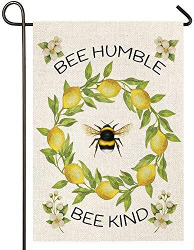Atenia Bee Humble and Kind, Gartenflagge, doppelseitig, Bienenkranz, Schild, Garten, Outdoor, Hofflagge für Sommerdekoration (Gartengröße – 32,5 x 45,7 cm)