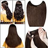 Extension Cheveux a Fil Invisible Transparent a Enfiler Cheveux Naturel Remy Cheveux Humain Sans Clips (#4 CHATAIN, 16'/40cm-60g)