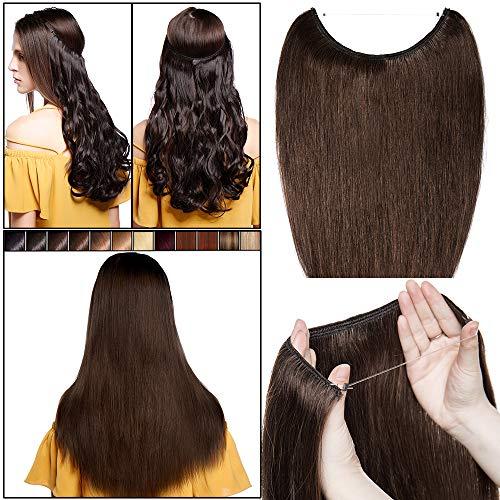 Elailite Extension Capelli Veri Filo Invisibile No Clip Fascia Unica Capelli Naturali Lisci 100% Remy Human Hair 40cm 60g #4 Marrone Cioccolato