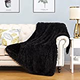 HBlife Luxury Soft Faux Fur Throw Blanket 50' X 60', Solid Reversible Lightweight Shaggy Fuzzy Blanket Plush Fluffy Cozy Decoration Throw Blankets for Couch and Living Room, Black