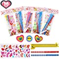 FiGoal 30 Pack Valentine's Day Assorted Stationery Value Gift Set Kids Classroom Exchange Pencil Eraser Ruler Stamper and Stickers Classroom Prizes Goodie Bag Party Supplies