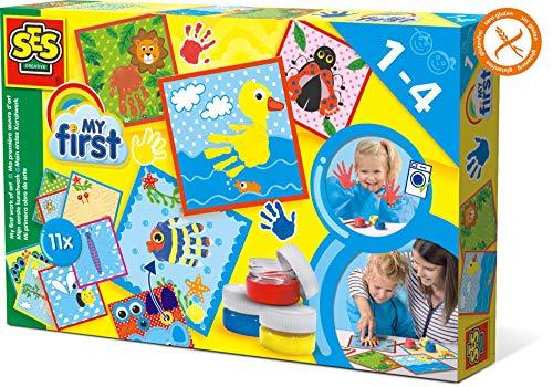 SES My First Mein erstes Kreativbild Kinder-Bastelkit, BlauRotGelb