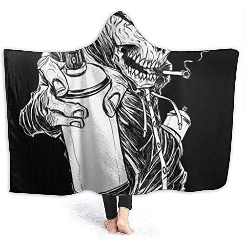 Nazi Mie Hoodie-Decken-super warme weiche gemütliche Wurfs-Verpackung für Bettsofa, Graffiti-Art-kühle Schädel-Muster-Schwarze Decke