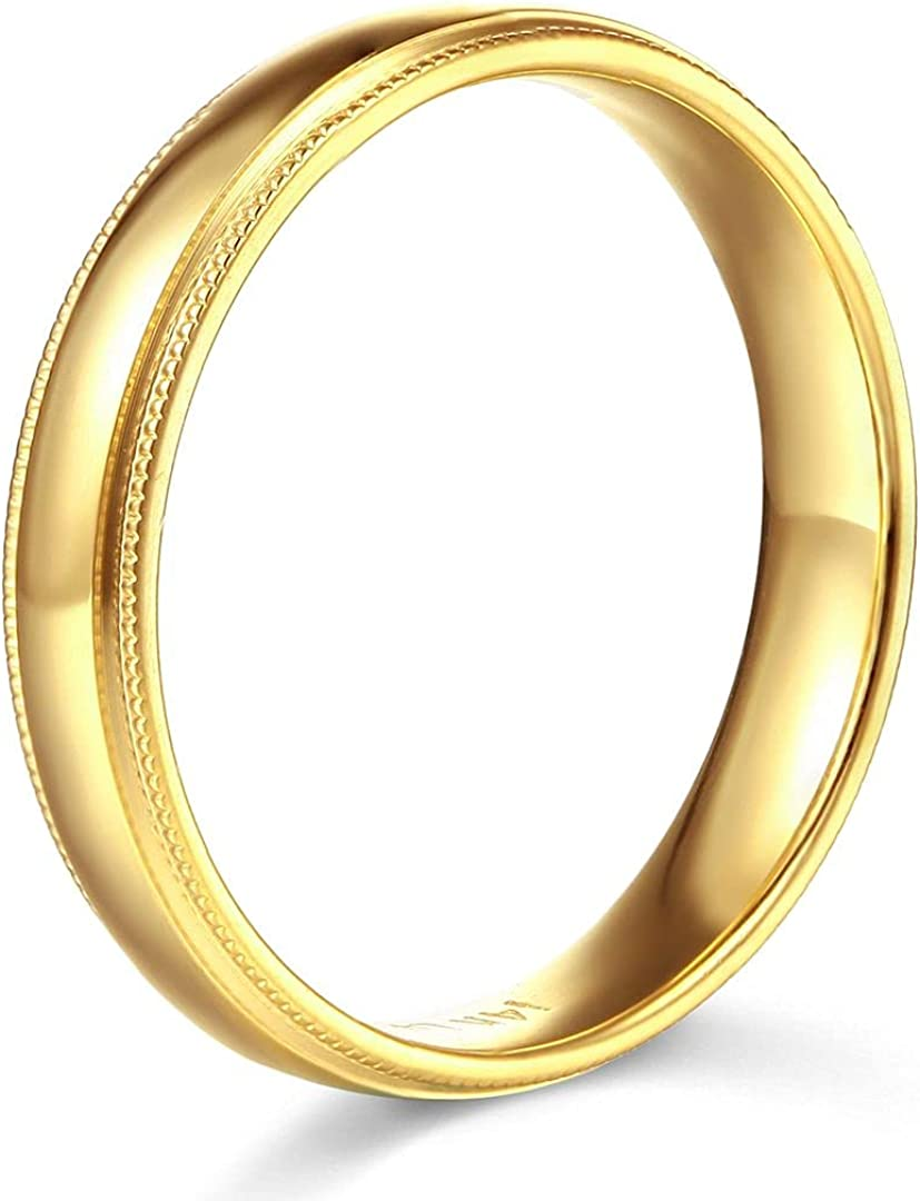 14k Yellow OR White Gold 6mm SOLID COMFORT FIT Plain Milgrain Wedding Band
