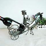 Zpong Schmiedeeisen Pferdekutsche Modell Metall Weinflaschenregal 40 * 11 * 26 cm, Europäische Kreative Retro Weinregal Ornamente