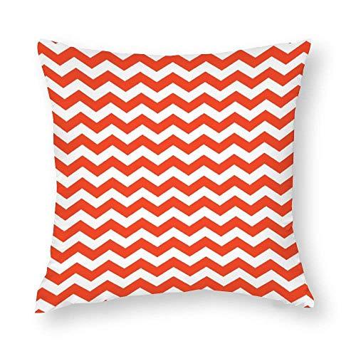 WH-CLA Funda de almohada moderna de color mandarina naranja chevrón para el hogar, 45 x 45 cm, estampado de sofá de oficina, acogedor, decoración del hogar, fundas de almohada con cremallera, colorido