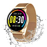 Smart Watch Notifications Set Your Personal Health Goals 1.3 HD Tempered Glass Screen Multi-sport Track and IP67 Waterproof Compatible with iOS and Android