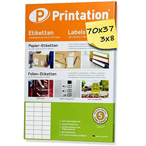 Universele etiketten 600 stuks 70 x 37 mm wit zelfklevend - 25 DIN A4 vellen á 3x8 70x37 labels/stickers bedrukbaar - 3474 4453 4615 LA133 FBA internetmerk