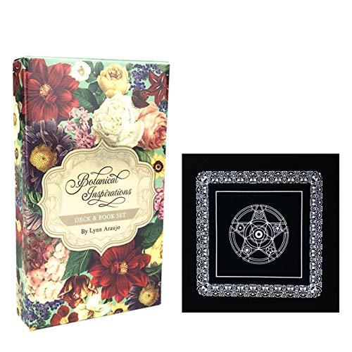 45pcs Botanical Inspiration Oracle-Karten und schwarzes Plüsch-Altar Tabellen-Tuch, Pentagram Retro Tarot-Tuch, Familie Feiertags-Party-Spiele Englisch Tarot Brett Spiele