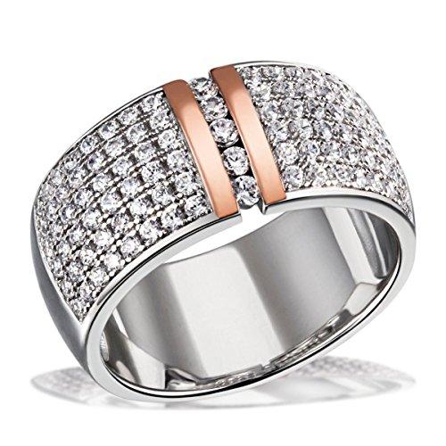 Goldmaid Damen-Ring verbödet 925 Silber teilvergoldet Zirkonia weiß Brillantschliff Gr. 56 (17.8) - Pa R7380S56 Schmuck