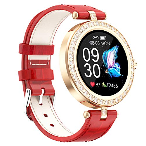 Smart Watch for Women Men,Waterproof Smartwatch with Heart Rate and Blood Pressure Monitor,Bluetooth Fitness Tracker Compatible with iOS Andriod,Best Present for Couples,Red
