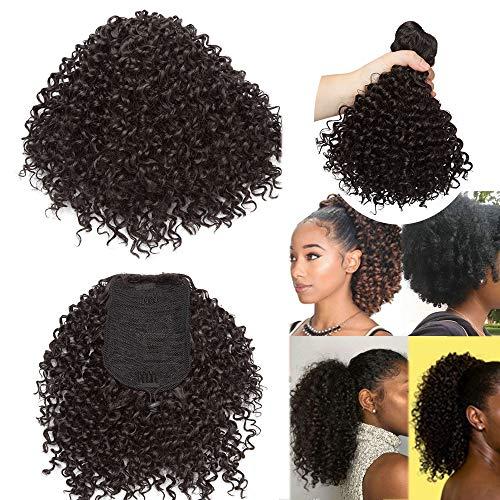 Coda Finta di Cavallo Afro Chignon Capelli Ricci Finti Extension Clip Cordicella Elastica Hair Scrunchie 20cm Posticci Donna 130g - Nero Naturale