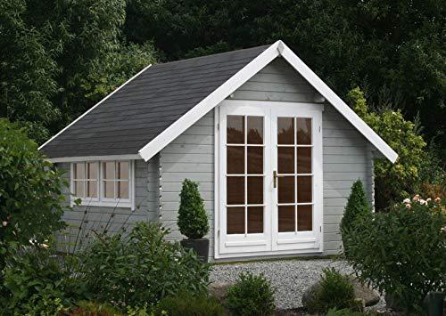 Alpholz Gartenhaus Ronja-28 aus Massiv-Holz | Gerätehaus mit 28 mm Wandstärke | Garten Holzhaus inklusive Montagematerial | Geräteschuppen Größe: 350 x 300 cm | Satteldach