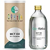 Go-Keto MCT Oil, 500 ml | Aceite MCT C8/10 prémium, 100% de aceite de coco sin aceite de palma | Perfecto para la dieta ceto | Crema de café ceto ideal para un Bulletproof Coffee o un batido ceto