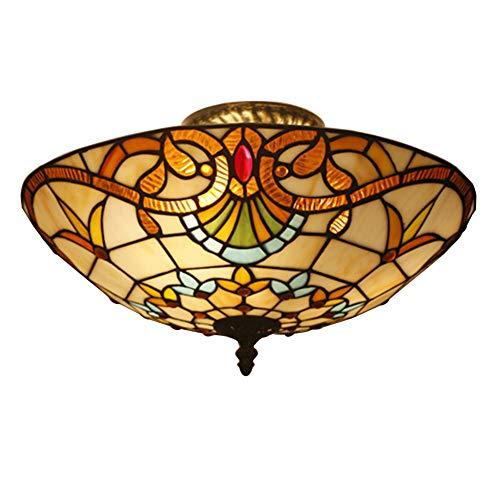 Luxus Tiffany Stil Deckenleuchte Erröten-einfassung E27 Runde Barock Stil Schirm Glasmalerei Deckenlampe Schlafzimmer Beleuchtung-b 40x23cm